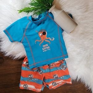 Wippette Octopus Swim Set | sz 18m | Orange | Blue